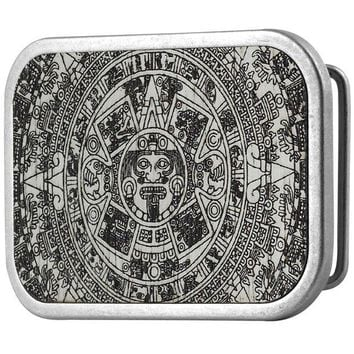 DCCKU3R Aztec Calendar White Guilded Wood Belt Buckle