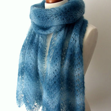 knit scarf mohair silk lace stole petrol teal luxury