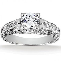 2 7/8ct tw Diamond Engagement Ring in 14K White Gold - Designer Prototypes - Engagement Rings