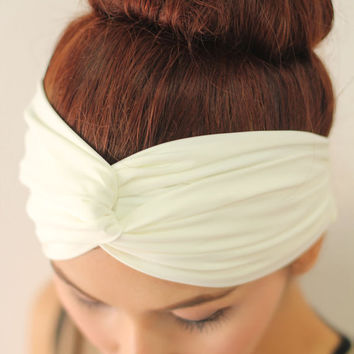 White Turban Twist Headband ,Simplicity Classic Hair Fashion Head Wrap, Wide Fabric