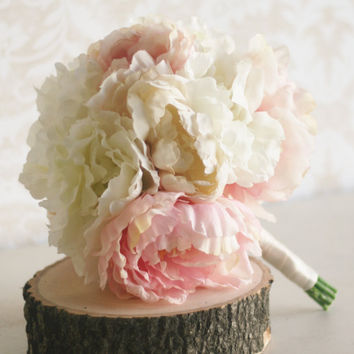 Silk Bride Bouquet Peony Flowers Peonies Shabby by braggingbags