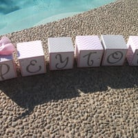 Baby Name Blocks, Wooden Name Blocks, Baby Blocks, Name Blocks, Baby Girl, Nursery, Newborn, Baby Shower, Baby Gift, Baby Name, Chevron