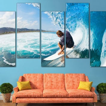 Surfing Canvas Print Ocean Surfing Home Decor Photography / Tropical Beach House Artwork Sports Wall Art / Ocean Water Sport Waves Wall Art