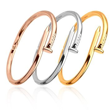 Nail Cuff Bangles Copper Love Bracelets for Women
