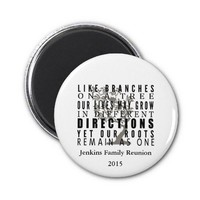 Branches on a Tree Family Reunion Quote Refrigerator Magnets