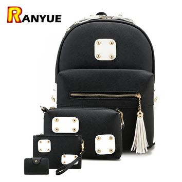 4pcs Tassel Rivet Women Backpacks For Teenage Girls School Bag Backpack Set Pu Leather Ladies Shoulder Bag Female Backpack Purse