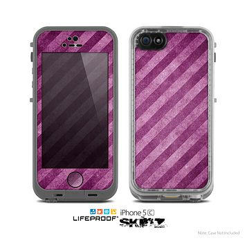 The Vector Grunge Purple Striped Skin for the Apple iPhone 5c LifeProof Case