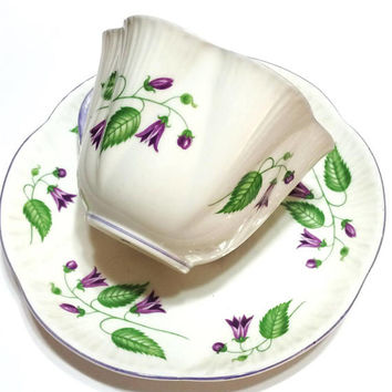 Shelley Dainty Tea Cup, Campanula Pattern, Purple Bell Flowers, Lavender Rims, English Bone China, 1940-1966, Vintage Porcelain