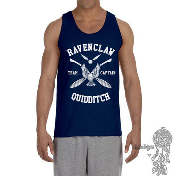 Ravenclaw Quidditch team Captain WHITE print on Male tank (Gildan Tank G220)