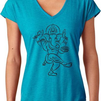 Womens Yoga T-shirt Sketch Ganesha Black Print Triblend V-neck