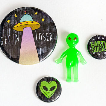 Earth Sucks | Set of 4 Pins | Alien UFO