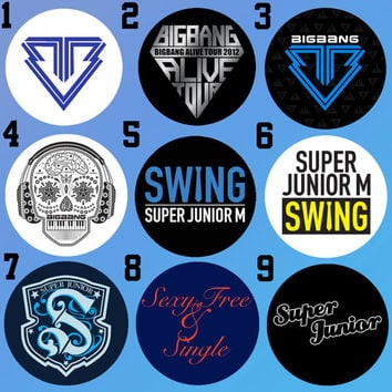 BigBang, Super Junior, and Super Junior-M (Still Alive, Sexy Free and Single, & Swing) Bottle Cap Necklace KPOP (9 Styles)