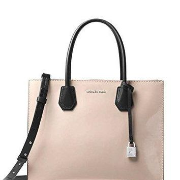 MICHAEL Michael Kors Mercer Large Convertible Tote Patent Leather Dark Cement