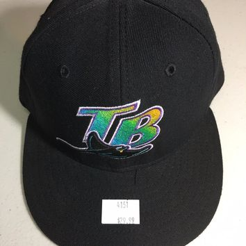 TAMPA BAY DEVILRAYS MLB RETRO NEW ERA 5950 BLACK W/ GRAY UNDER FITTED HAT