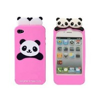 Light Pink Panda Bear Flexible Silicone Case for Apple iPhone 4, 4S (AT&T, Verizon, Sprint) - Includes 24/7 Cases Microfiber Cleaning Cloth [Retail Packaging by DandyCase]