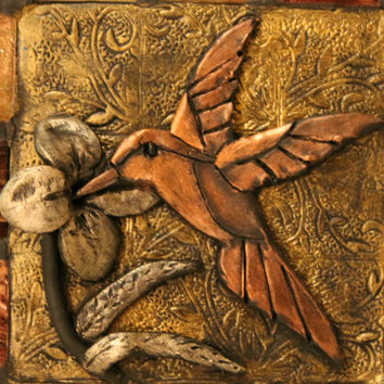 Hummingbird ceramic tile Polymer clay Hummingbird handmade art clay home decor