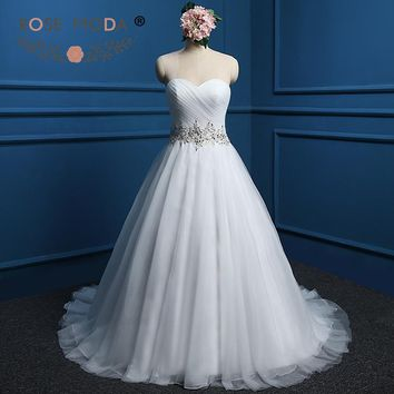 Rose Moda Strapless Sweetheart Puffy Tulle Ball Gown Crystal Beaded Waist Princess Wedding Dress Custom Made Real Photos