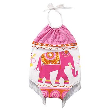 Newborn Infant Baby Boy Girls Elephant Printed Romper New Arrival Summer Jumpsuit Clothes