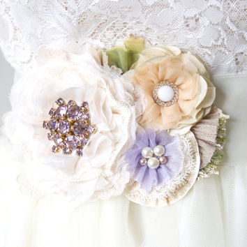 Wedding Dress Belt ~ Lilac and Blush Blossoms
