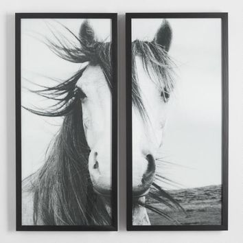 Horse Diptych by Steven Coleman with Black Frames Set of 2