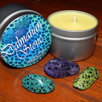 Dalmatian Gemstone Candle - THREE Genuine Dalmatian Stones Inside! - Blue, Purple, & Green - Scented Candle with Genuine Gemstones Inside