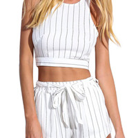 White Vertical Stripe Crop Top With Shorts -SheIn(Sheinside)