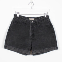 Vintage Black Denim Shorts High Waisted Shorts 1990s Jean Shorts Soft Grunge Mom Shorts Cuffed GUESS Denim Shorts 90s Hipster Denim L Large