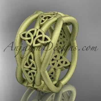 14kt yellow gold celtic trinity knot wedding band, matte finish wedding band, engagement ring CT7519G