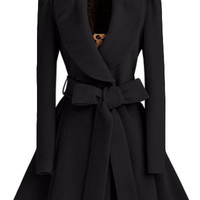 Turn-Down Collar Long Sleeve Tie-Waist Coat