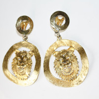 Vintage Earrings Lion Head Couture Statement 1970s  Jewelry