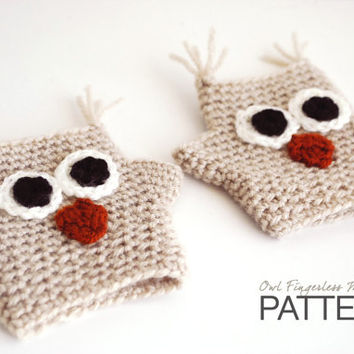 CROCHET PATTERN : Hayden The Owl Fingerless Mittens - Kids size - Animal gloves