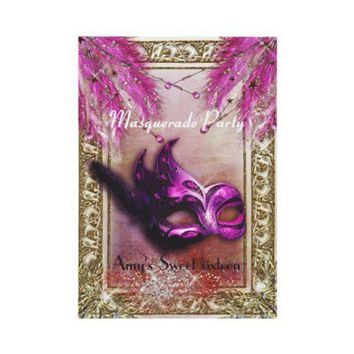 Purple & Gold masquerade sweet 16 Birthday party Personalized Invites from Zazzle.com