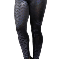 Black Chameleon Mermaid Leggings Design 372