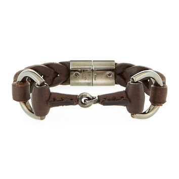 Men's Leather Horsebit Bracelet, Brown - Gucci