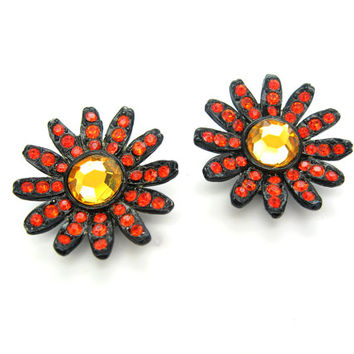Capri Rhinestone Earrings. Orange & Japanned Black Flowers. Mirror Glass. Mod Daisy Clip Ons. 1960s Vintage Flower Power Jewelry.