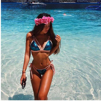2017 Sexy Blue Sequin Bling String Biquini Beachwear Halter Thong Swim Wear Swimsuit Bathing Suit Swimwear Women Bikini