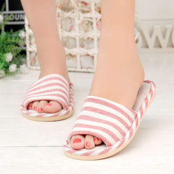 Design Stylish Korean Home Anti-skid Slippers Summer Couple Linen Sandals [6034265793]