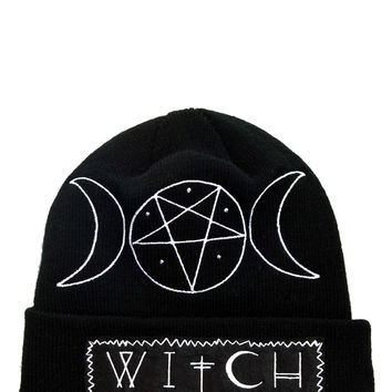 Gypsy Witch Pentagram and moons Witch Black knit beanie