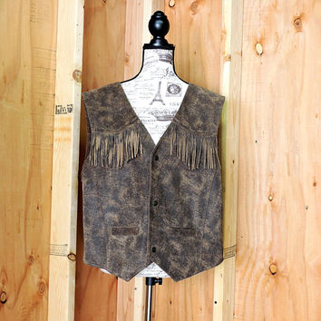 80s fringed leather vest / size XXL / plus size / Charles Klein / unisex stonewashed leather fringe vest / brown leather vest