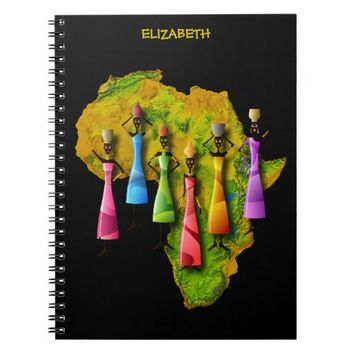 African Women In Colorful Dresses On Africa Map Spiral Notebook