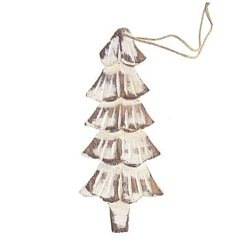 Hanging Wood Distressed Slim Tree Christmas Ornament, White, 5-3/4-Inch