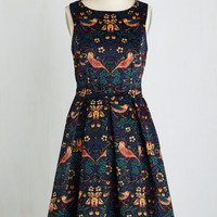 Long Sleeveless Fit & Flare Partridge in a Flair Tree Dress