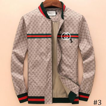 GUCCI 2018 autumn and winter models bee embroidered street fashion casual baseball collar jacket F-A00FS-GJ #3