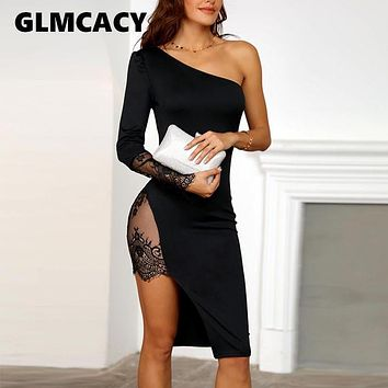 Women One Shoulder Lace Insert Slit Bodycon Dress Sexy & Club Solid Knee-Length Asymmetrical Spring Autumn Dress