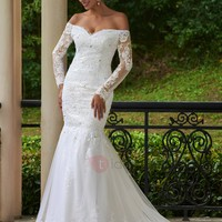 Charming Off-the-Shoulder Lace-Up Beaded Appliques Mermaid Wedding Dress With Sleeves
