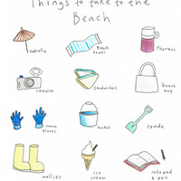 Things To Take To The Beach A4 Print