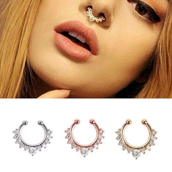 Alloy Hoop Nose Ring Piercing Fake Septum Clicker Hanger for Jewelry
