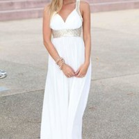 White Sleeveless Maxi Dress with Gold Sequin Straps  #white #dress #need #wish #cute #classy #gold #sequin #party #chic #spring #love #want