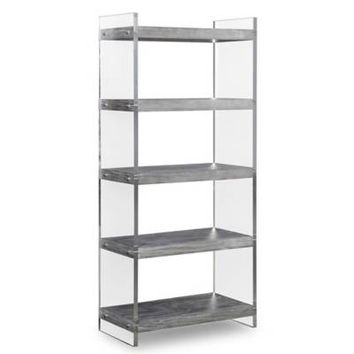 TOV Furniture Berlin Lucite® and Pine Veneer Bookcase in Washed Grey