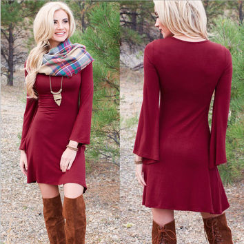 Wine Red Long Horn Sleeve Dress